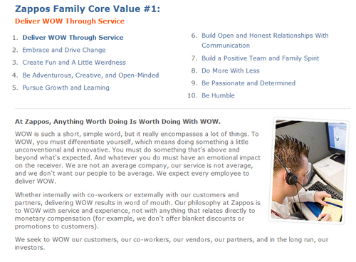 "Zappo's ""WOW""  core value"